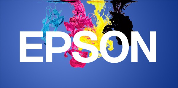 Epson logo over ink clouds